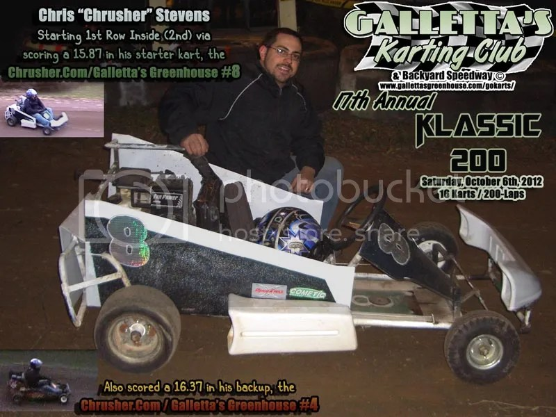 Chris Stevens before the 17th Annual Oswego Karting 200 Lapper at Galletta's!