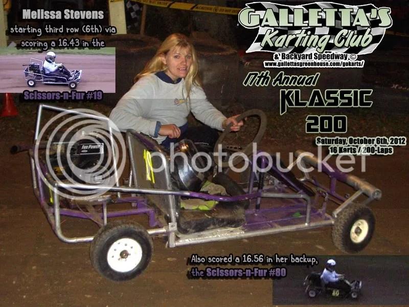 Melissa Stevens before the 17th Annual Oswego 200-Lap Karting Klassic Galletta's Greenhouse Karting Speedway 10/6/2012.