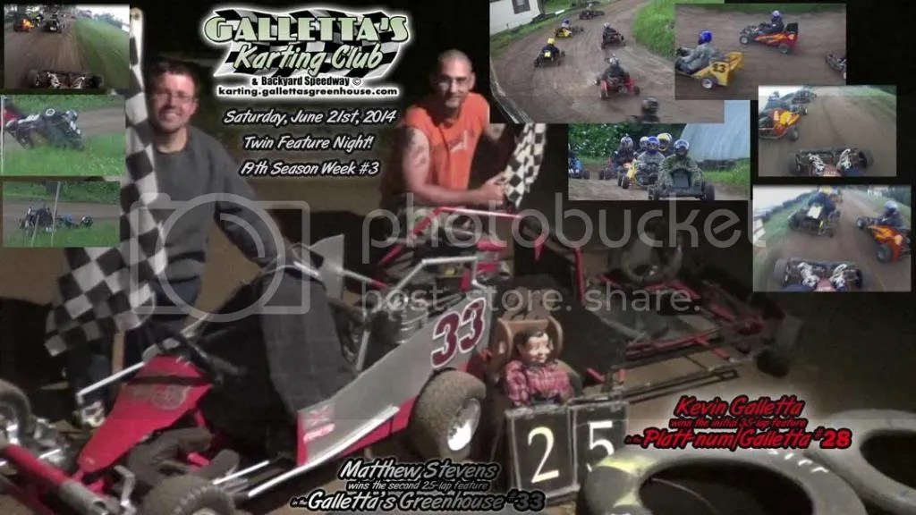 Kevin Galletta and Matt Stevens win the 6/21/2014 Oswego Karting features!