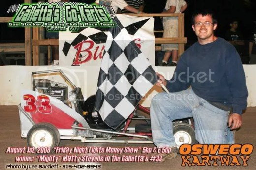 Matt Stevens beats 6.5hp karts in his 5hp kart at Oswego Speedway on August 1st, 2008!