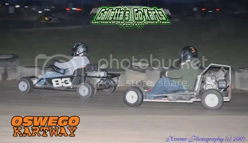 Raponi (Outlaw OHV #83) maintaining a lead over Matt Stevens (Galletta's FH #33).