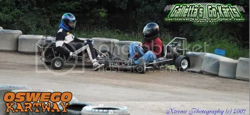 """MC Howell (Galletta's #6) says, """"Oops sorry for crashing one of your backup karts into you, boss"""" to Matt Stevens (Galletta's #33)."""