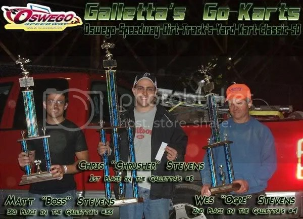 Oswego Speedway Classic Weekend - Dirt Yard Kart Division Top 3