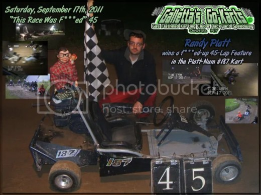 Randy Platt takes his Platt-Num #187 into Victory Lane on 9/17/2011!