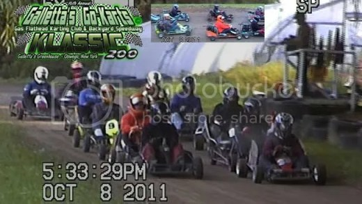 """200-LAP OSWEGO KARTING - The starting grid of the 16th Annual Klassic, and our largest field since the 2006 edition of the event. Much like the Oswego Speedway Supermodified Classic 200 that our championship race is based after, each driver's goal for the 1st 100-120 laps is to conserve gas while keeping the vehicle safe, operational and in position to win late. Easier said than done, and it adds drama that a regular-length race cannot do. You just can't slap an extra ten laps to your regular race, throw a bunch of trophies in and call your dozen-or-more mini-races a """"Classic"""" by the time of year and location. There has to be a reason to call it that."""