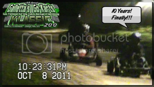 "But the Galletta's #8 and driver could not be denied, and the dry spell finally ran out for Chris! A decade-long ""close but no cigar"" bad luck streak: Broken drivewheel axle and ripped pull-cord while leading in 2002, foot slipped off the gas pedal while leading late in 2003, top time-trialer dropped by a faulty valve guide in 2004, caught in an accident and then lost a chain while competing for the win in 2005, sputtering carb while leading in 2006, leaking head gasket up front but unable to challenge for the lead in both 2007 and 2008 (while also getting a flat drivewheel and then being off-balance for most of the show with terrible stagger), losing a clutch bolt while in 2nd to sputtering leader in 2009, and finally being taken out from behind while in 2nd behind a sputtering leader by his own brother in 2010). Chris Stevens held on to win his first Galletta's Greenhouse Karting Klassic since a three win streak from 1999, 2000 and 2001!"