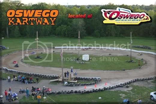 Oswego Kartway 2008 (from Oswego Speedway back grandstand. Pix by Lee Bartlett and Pinner)