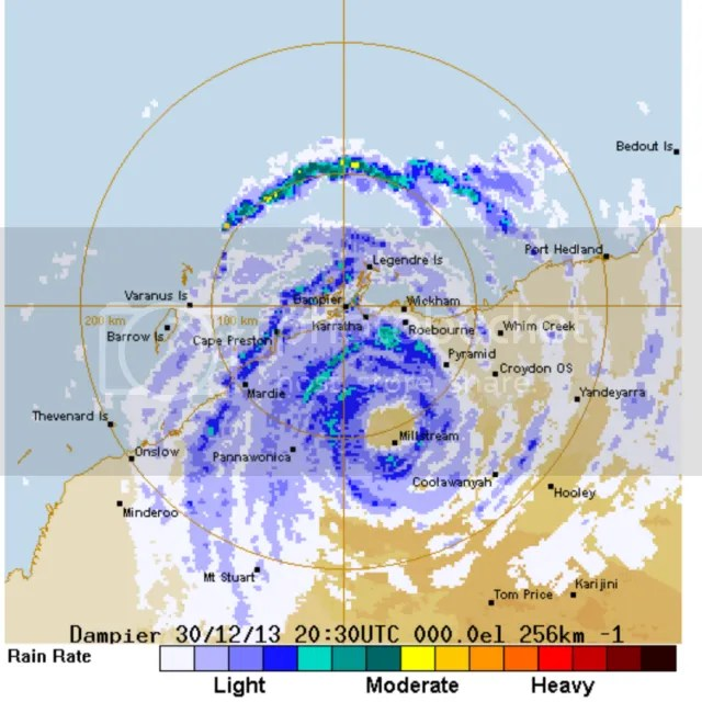 eye wall of TCchristine seenwell  inland 31st dec 2013