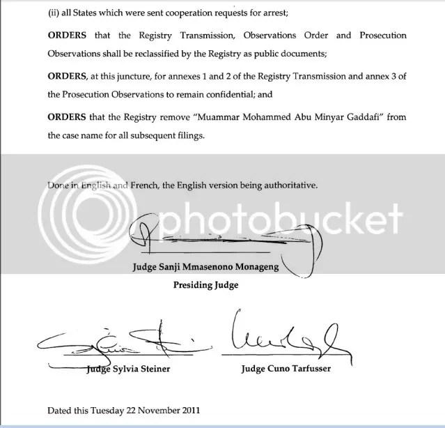 ICC warrant recinded