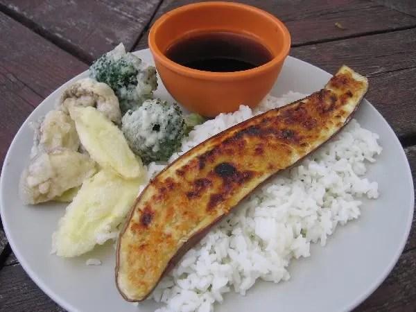 Miso Eggplant and Tempura