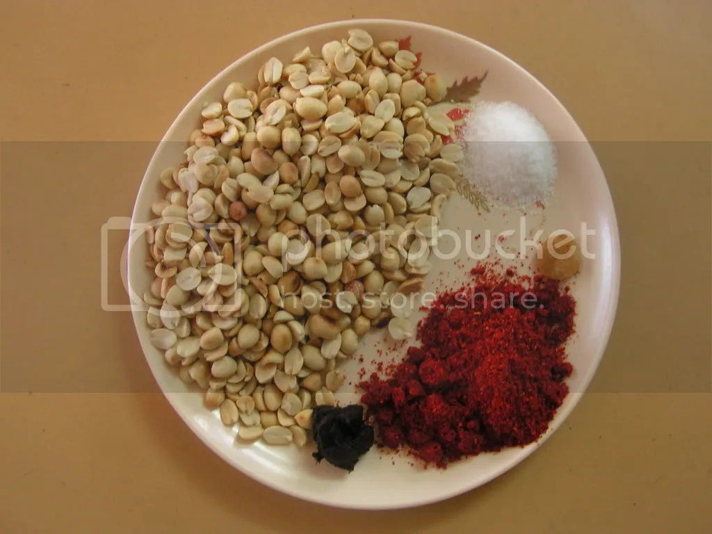 Ingredients of peanut chutney powder