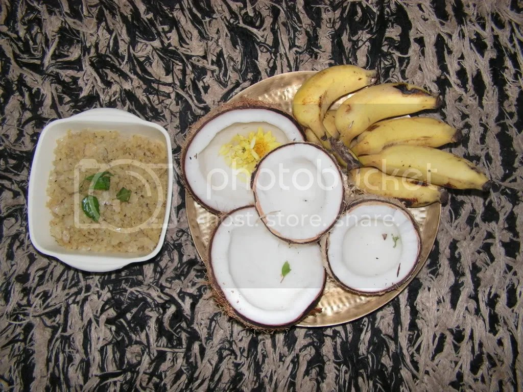 Prasad and the coconut and fruit offered to the lord