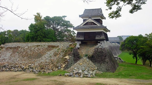 Earthquake damages Kumamoto Castle