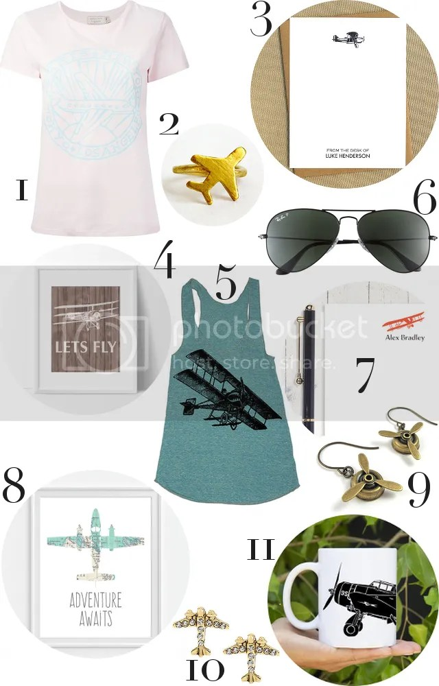 GIFT GUIDE: THE AVIATRIX by Fashion in Flight 1. MAISON KINSUNÉ t-shirt / 2. BUBBLEBOX ring / 3. JUBILEE DESIGN STUDIO stationary / 4. DCASTUDIO print / 5. LAST EARTH tank / 6. RAY-BAN aviators / 7. NAOMILYNN stationary / 8. PICTURALITY print / 9. MICHELLE MACH earrings / 10. BETSEY JOHNSON earrings / 11. KILLER BEE MOTO mug