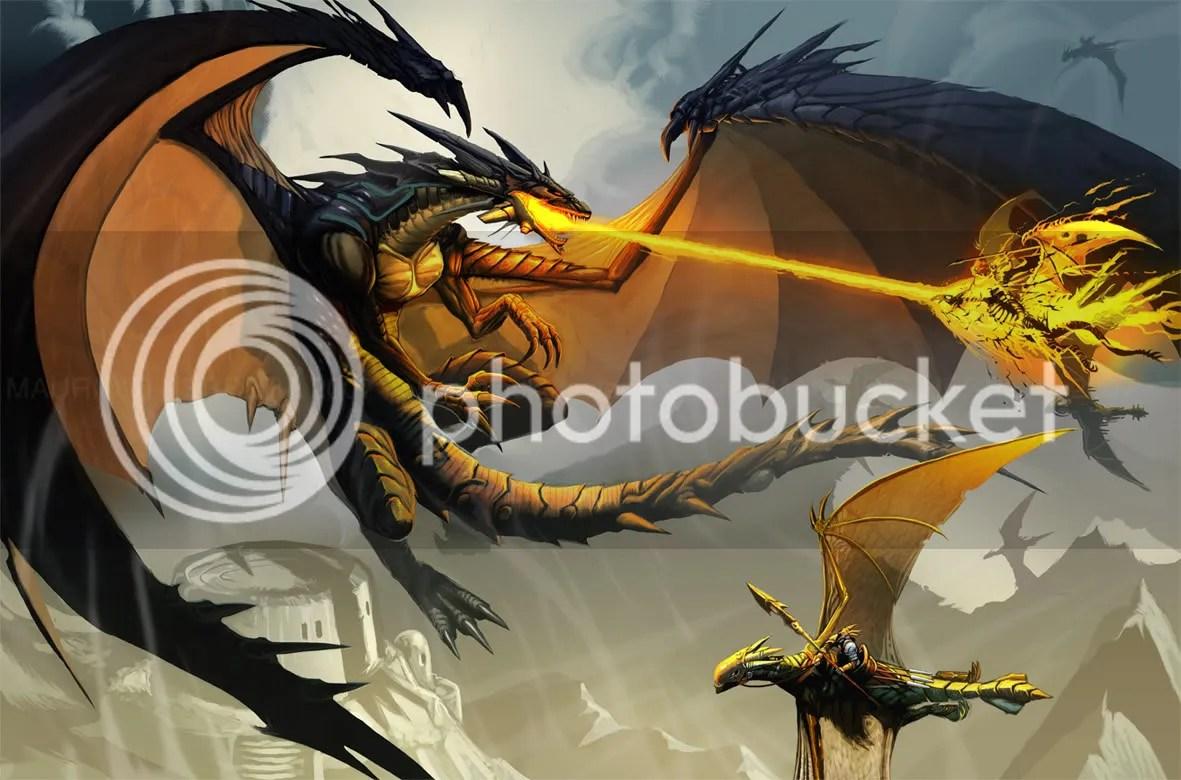 Um grande dragão negro atancando