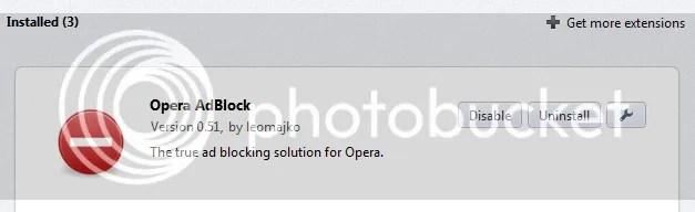 Pengaturan Ekstensi Opera