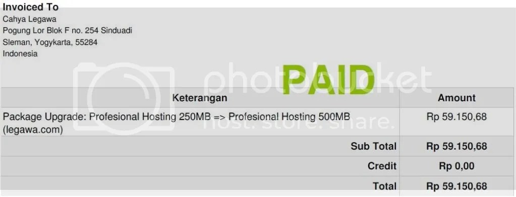 Upgrade Paket Hosting