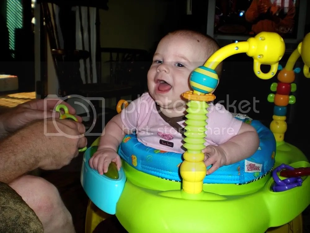 Excited Baby trying out the bouncer for the first time.