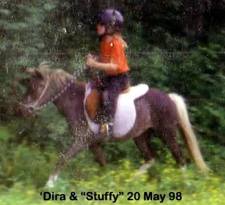 'Dira riding Stuffy hunt seat at LP Painted Ponys - Parkton, NC - 1998