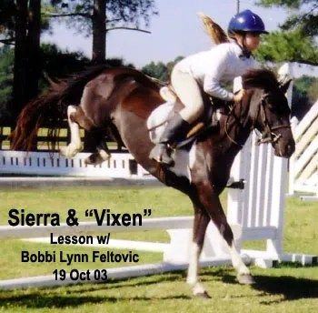Vixen & Sierra - riding lesson in Parkton, NC - 2003