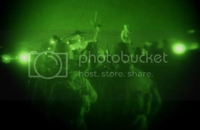 A night vision handout picture released by the United States Marines, shows Marines from 1st Battalion, 5th Marine Regiment, Regimental Combat Team 3, Marine Expeditionary Brigade-Afghanistan, boarding a UH-60L Black Hawk helicopter during the launching of Operation Khanjar, at Camp Bastion in Helmand province Afghanistan, in the early hours of 02 July 2009. Around 4,000 US marines and 650 Afghan soldiers began a large-scale offensive against the Taliban in Helmand province in southern Afghanistan