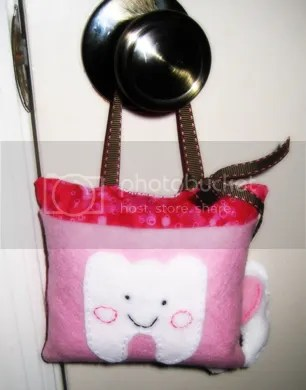 Tooth Fairy Pillow, the solid pink is the pocket.