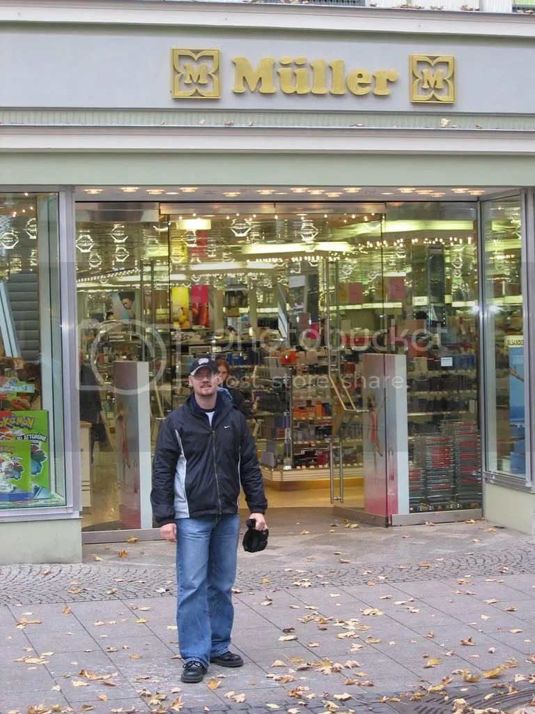 Mats has told me that Mueller, (in Germany, Muller with the two dots over the U) is a very common name. Here I am at a department store with the same name as my family in Weimar.