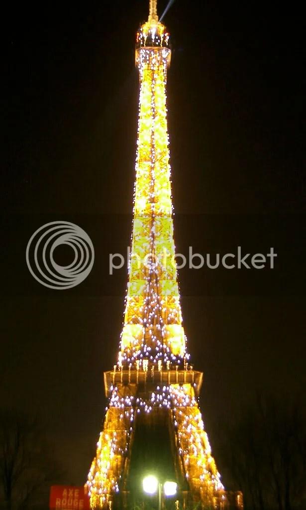 The Eiffel Tower, glittering