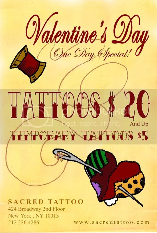 For one day only, Sacred Tattoo is offering a deal that is too good to be