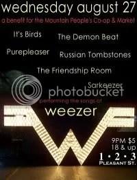 Weezer Tribute @ 123 Pleasant St.