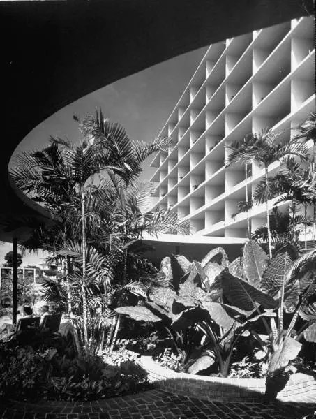 Photograph of the exterior of the Panama Hilton Hotel designed by Edward D. Stone in 1951.  Photo taken by Ralph Crane.