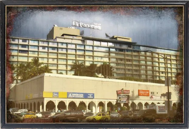 Photograph of Hotel Panama taken by Omar Upegui R. on February 13, 2009 and digitally edited by Michael Moore.