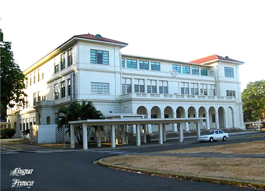 Photograph of the elegant Balboa Elementary School Building located at Balboa, Panama City, Panama.  (Credit:  Omar Upegui R.)