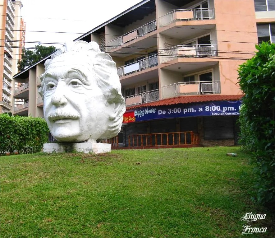 Originally this medium sized head of Einstein was gray, the color or cement, but it was later painted white.  Due to sun and rain, the white paint is peeling off hampering the beauty of the sculpture.  (Credit:  Omar Upegui R.)