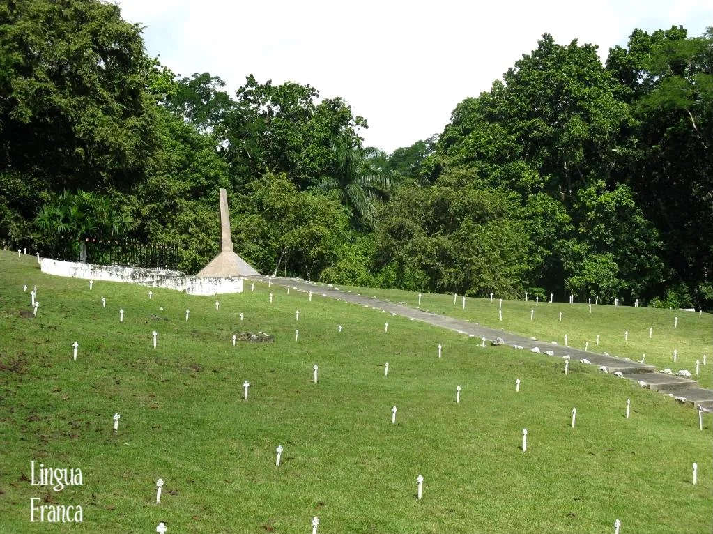 A panoramic view of the Old French Cemetery honoring and remembering thousands of lives that were lost during the construction of the Panama Canal.  (Credit:  Omar Upegui R.)