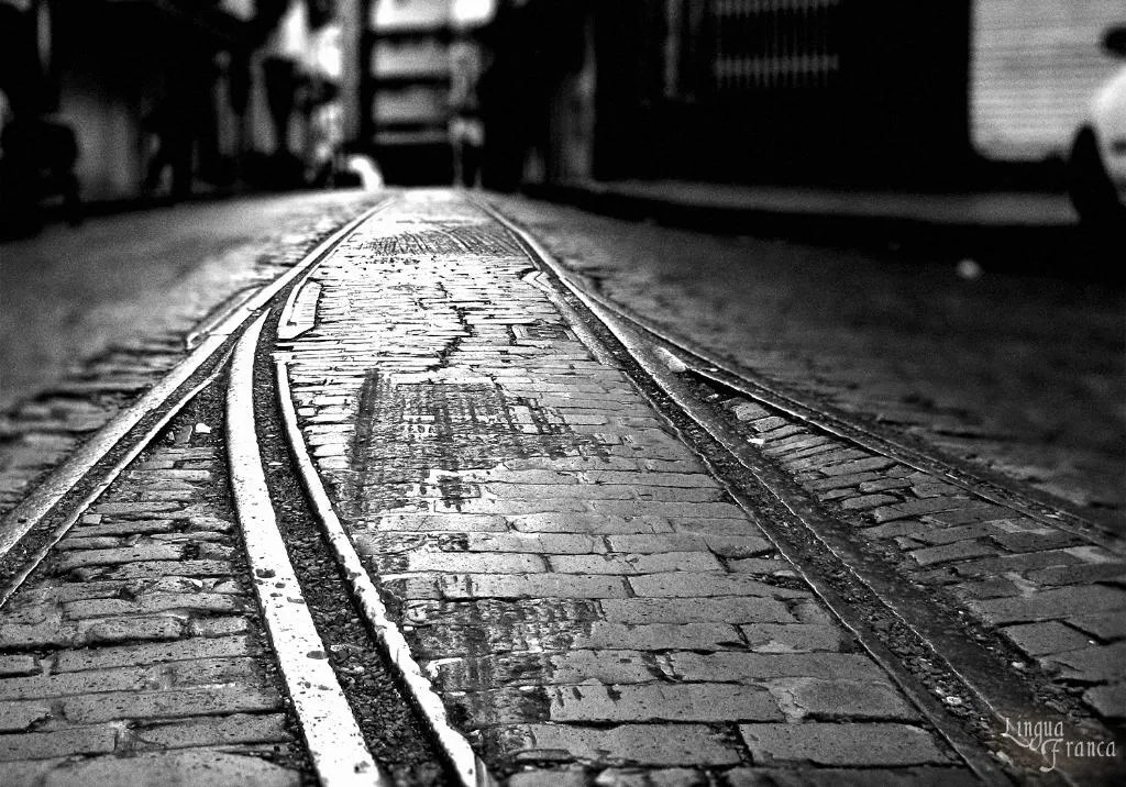 The same previous photograph exposed in black and white to add contrast to the picture of the rails and the bricks.  (Credit:  Omar Upegui R./Michael Moore)