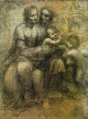 Dans cette esquisse Jésus est représenté aux côtés de saint jean baptiste qui disparaitra au profit de l'agneau dans le tableau