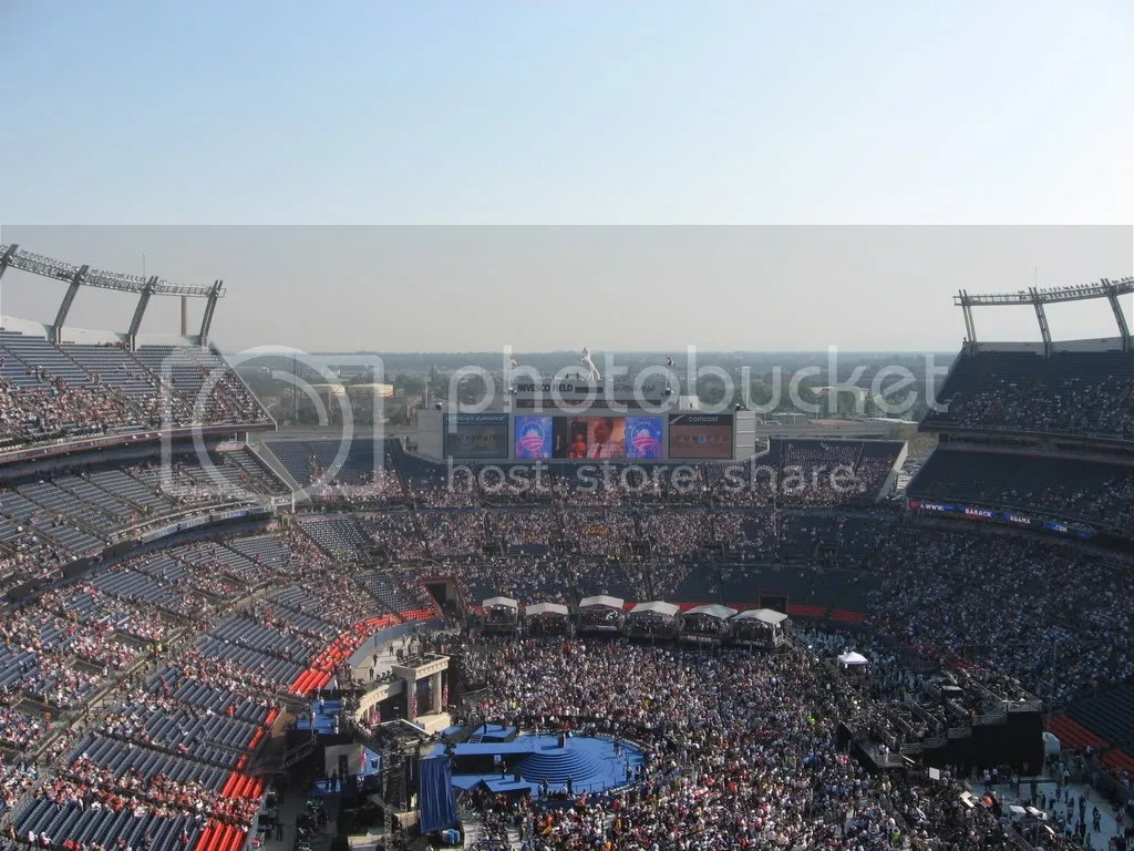 Invesco Field at Mile High as the stands begin to fill up for Obamas speech.