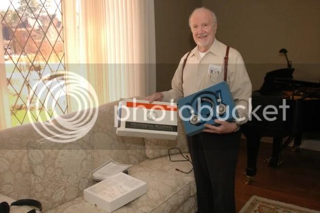 Joseph Grado poses with one of Martin McKenzie's HP-1000 headsets photo 460763907_a814e2438f_b_d.jpg