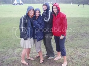 the girls ate the rain but love football
