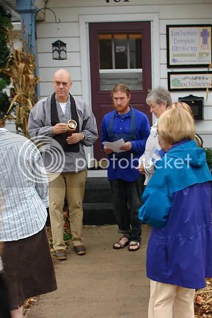 Blessing of Garden began at front door of LCM house