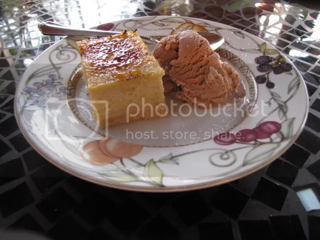 My Roasted Grits Bar with Cornmeal Shortbread.  Simple, make-ahead recipe.  I punched it up a little with a brulee topping and a simple chocolate ice cream.
