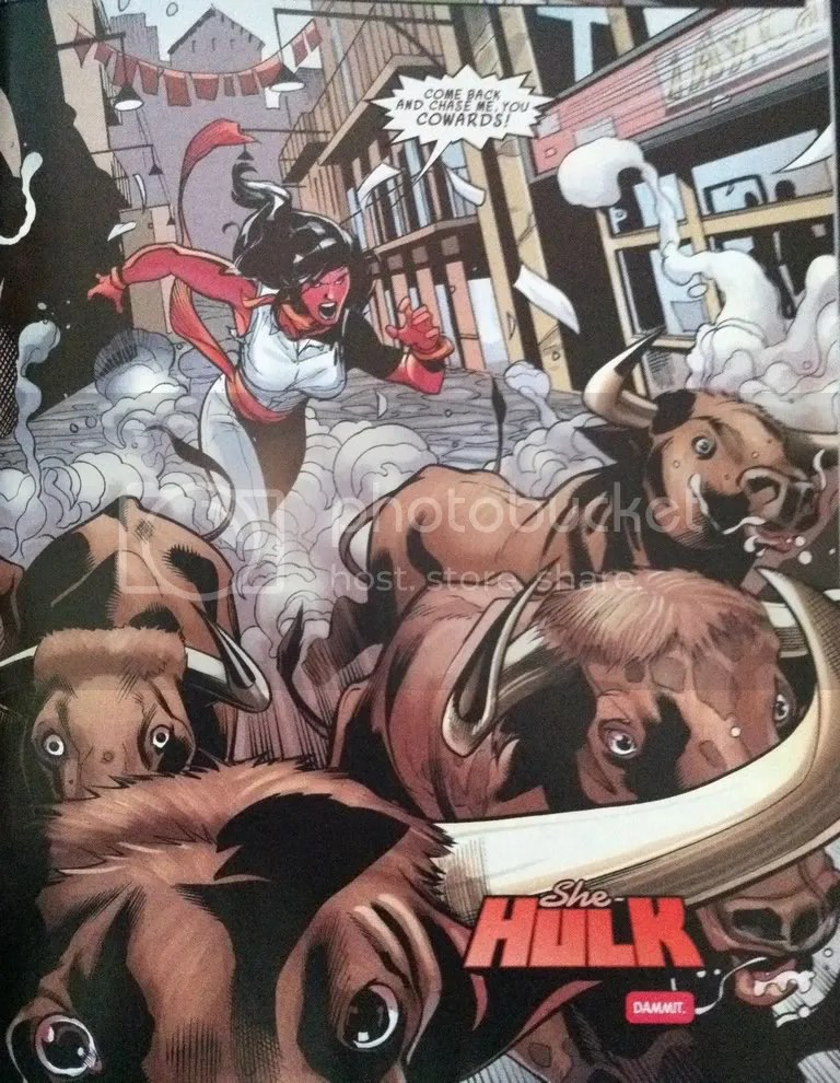 Red She-Hulk Chasing Bulls