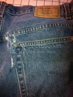 My husbands jeans - ripped pocket