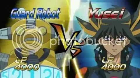 Guard Robot VS Yusei Fudo! He should ask help from Hayate!