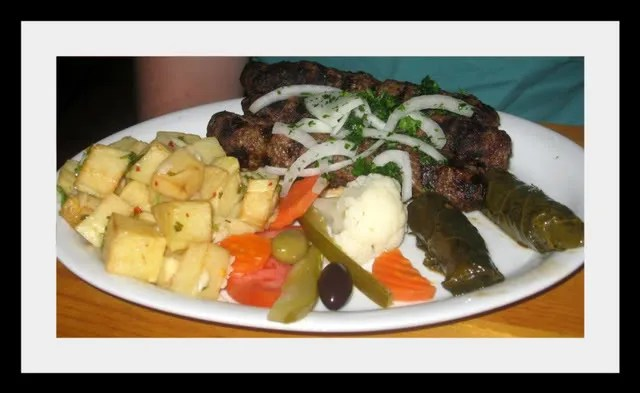 Kabob Grill Kafta Kabob with Potato Harra and Yalanji