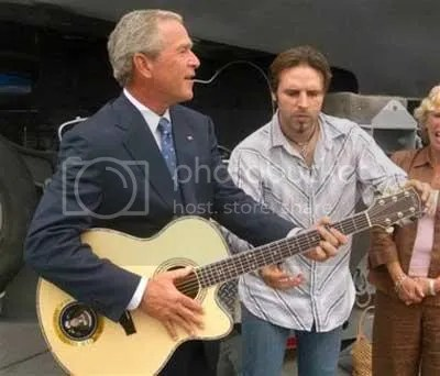 bush katrina air guitar