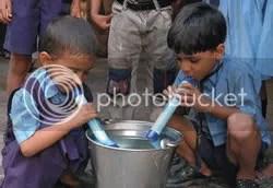 Children using the Lifestraw