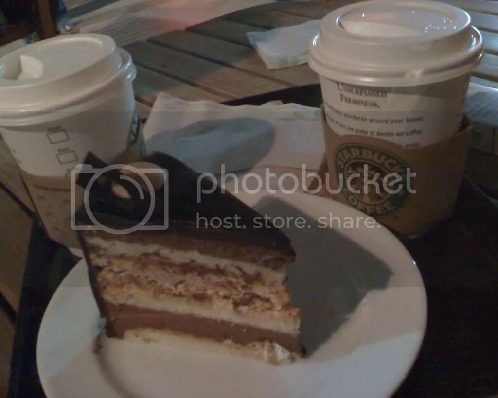 Hot White Chocolate Mocha and Chocolate Hazelnut Chantilly Cake