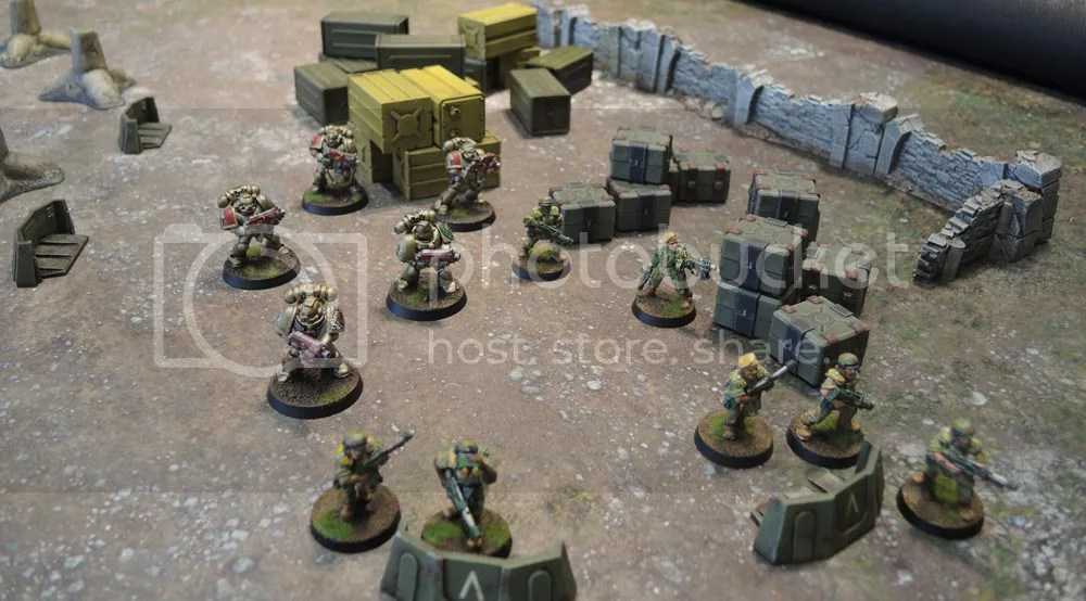 Sedition Wars Terrain Set Crates, Sedition Wars Terrain Set Barricades, Confrontation Walls, DUST Dragon's Teeth, DUST Supply Drop Boxes, Metal Cadian Imperial Guard, Minotaurs Space Marines, Urbanmatz Badlands Mat